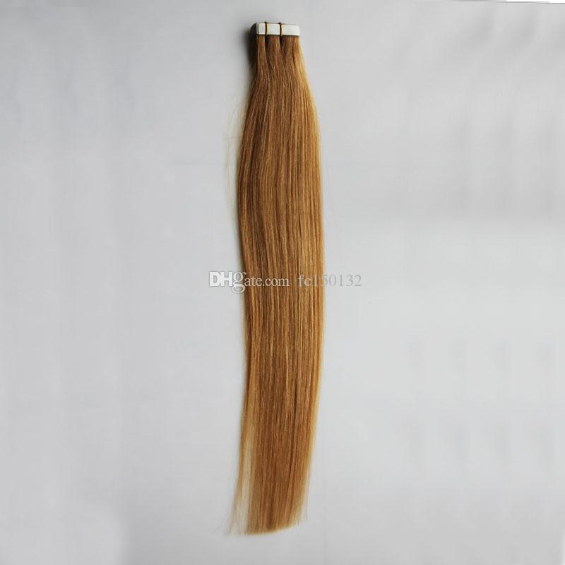100g Tape In Human Hair Extensions Straight Brazilian Virgin Hair Honey Blonde Tape In Human Hair