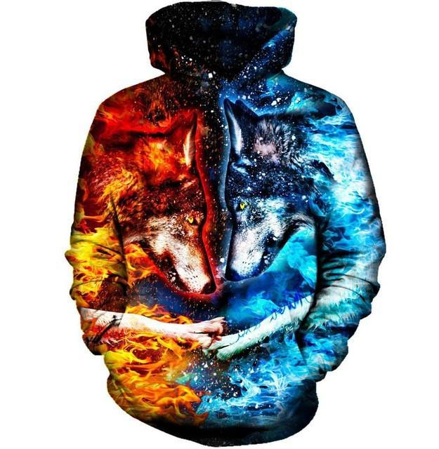 345204d80b 2019 2017 New Fashion Cool Sweatshirt Hoodies Men Women 3D Print Ice And  Fire Nice Wolf Hot Style Streetwear Long Sleeve Clothes From Xiatian8, ...