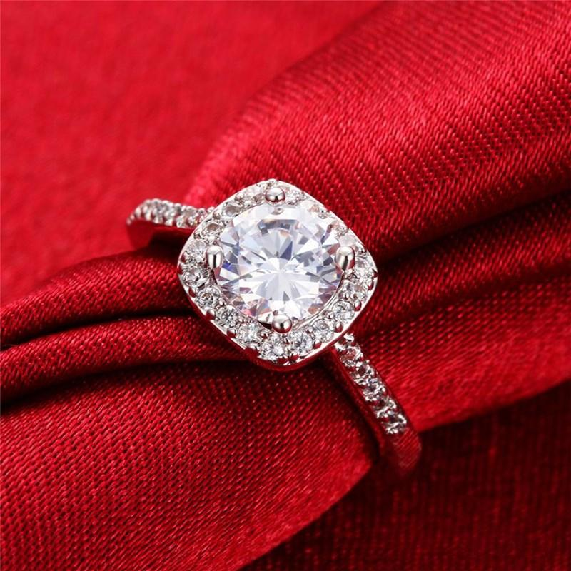 Rose Gold Silver Plated Wedding Rings For Women Square Zircon ... 687b0b9064db