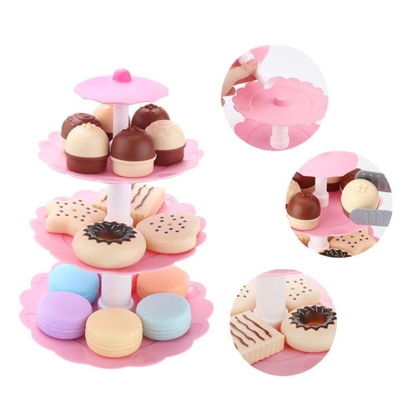 1 Set of Kids Food Toy Children Cake Desserts Tower Party Tea Set Pretend Role Play Food Toys free shipping