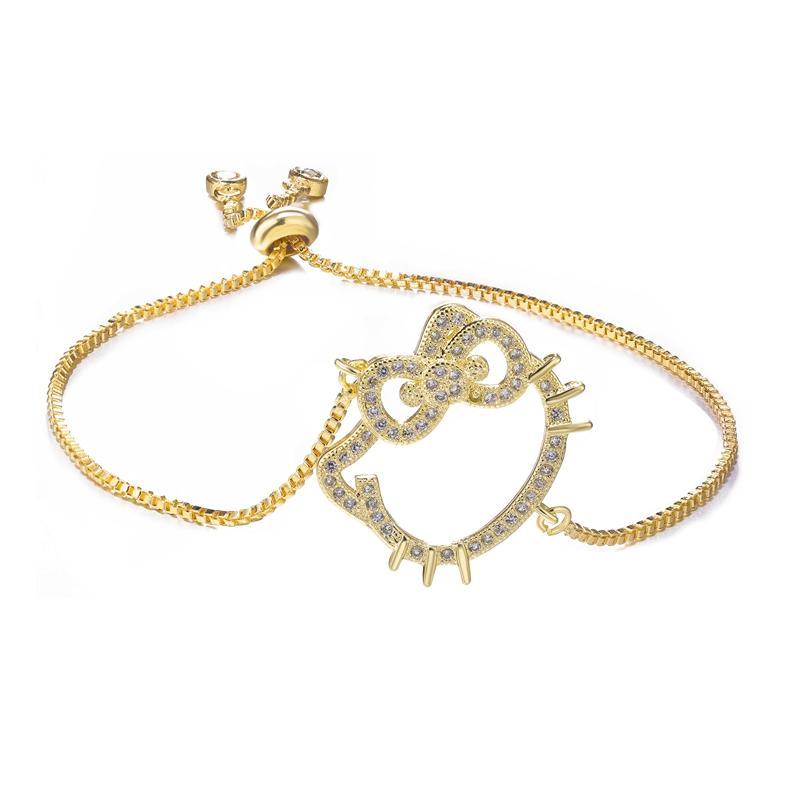 Hot Jewelry Cute Zircon Hello Kitty Charms Bracelets & Bangles Bijoux Copper Micro Pave Chain Bracelets For Women Diy Bracciali
