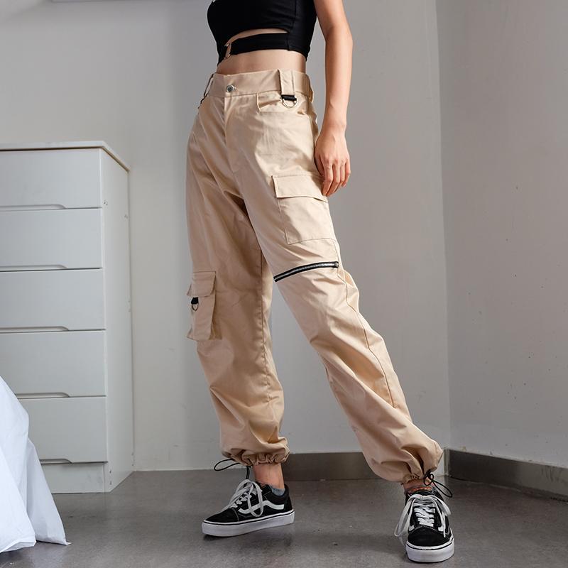 Acquista Pantaloni Cargo Kaki Con Catena Pantaloni Cool Da Donna  Abbigliamento Da Strada Femminile Bianco Nero Casual Autunno Estate Casual  Pantaloni ... 2de63a5a5f1d