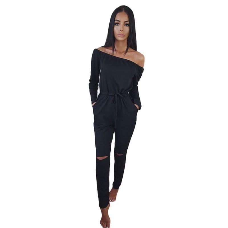44c59f27f51 2019 Fashion Sexy Jumpsuits Black Women Ladies Long Sleeve Summer Clubwear  Playsuit Hole Party Jumpsuit Romper Long Trousers From Blueberry11
