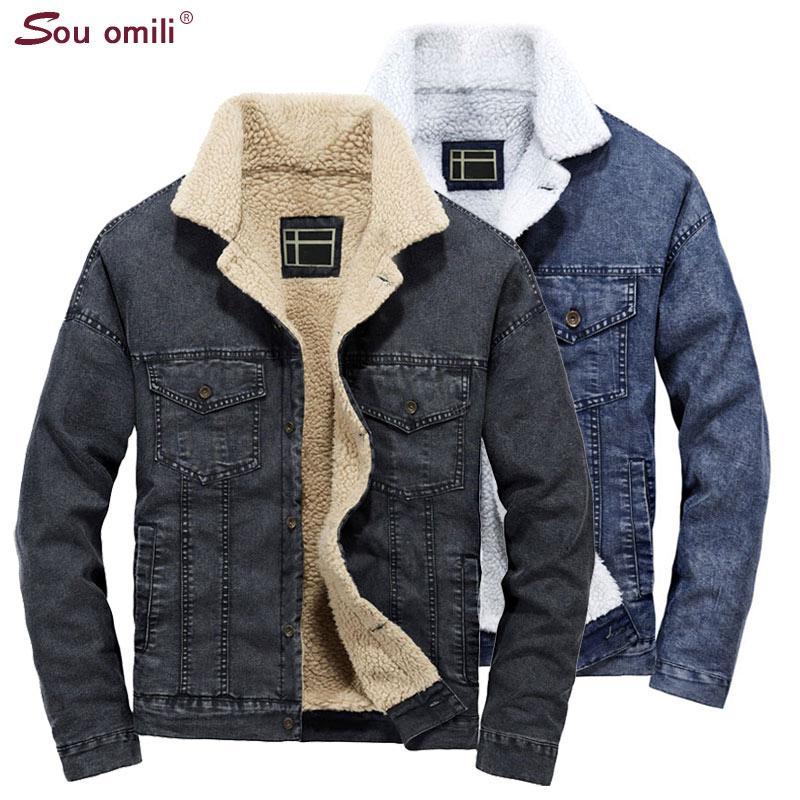 the latest 72eea 429b4 Autunno / Inverno Giacca di Jeans Uomo Cappotti di Lana di spessore Giacca  di velluto per gli uomini Denim jaqueta masculina streetwear chaqueta ...