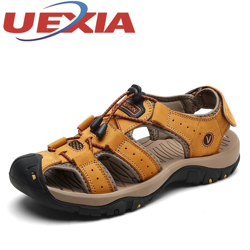 a04e29e16a5f Mens Casual Sandals Pu Leather Summer New Style Outdoor Beach Shoes Men  Fashion Sport Water Shoes Breathable Feminino Sandalias Comfortable Shoes  Discount ...