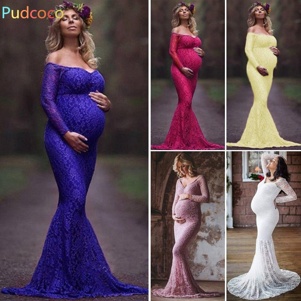 74b8e1625a7 2019 New   Beautiful Pregnant Womens Maxi Dress Lace Gown Maternity  Photography Maternity Photo Props From Paradise02