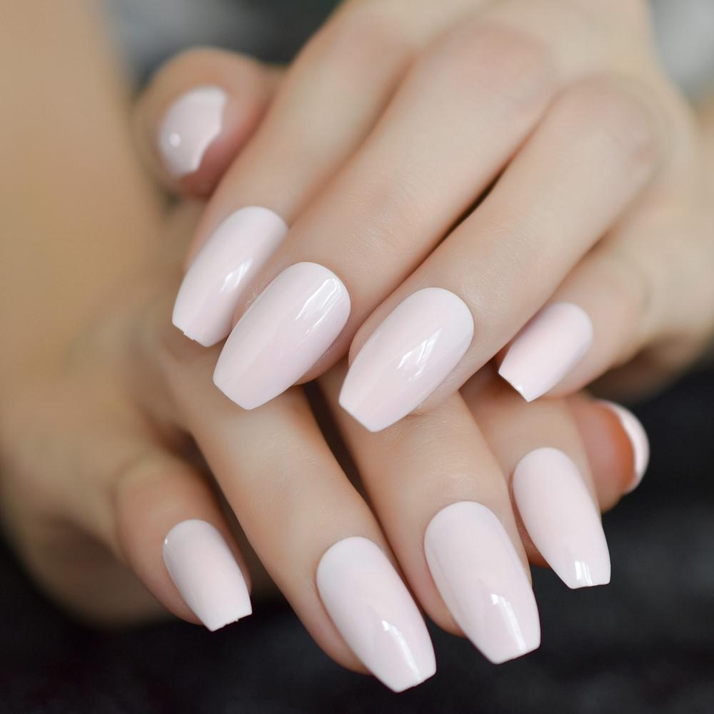 Light Pink Coffin Shiny Acrylic Nails Medium Ballerina UV Nail Art ...