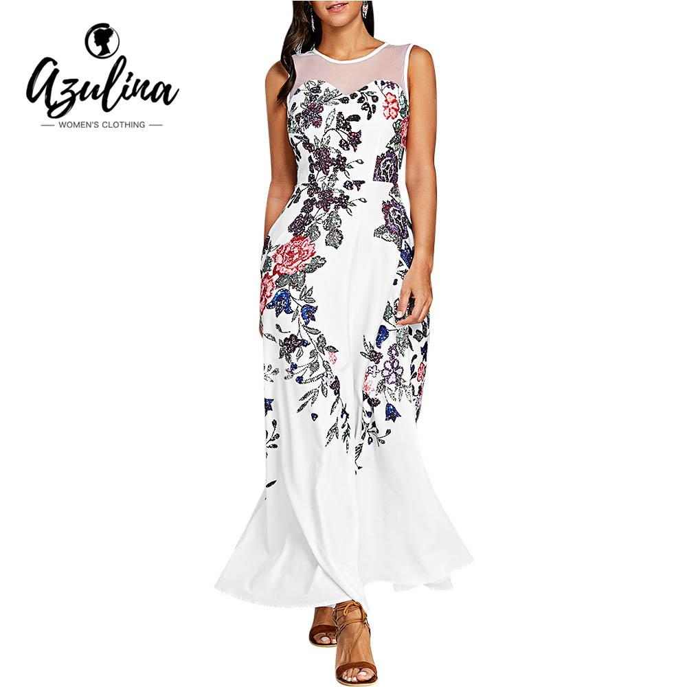 5a3e5e2d55a 20187 AZULINA Mesh Insert Floral Print Maxi Dress Round Collar Sleeveless  Floor Length Ladies Dresses Robe Summer Women Dress Vestidos Purple Dresses  For ...