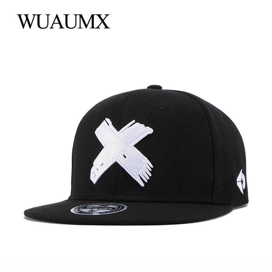 69311ffb527a Wuaumx NUEVA Marca X Bordado Snapback Caps Para Mujeres Hombres Gorra de  Béisbol Clásica Equipada Hip Hop Bailarín Sombrero Casquette Al Por Mayor