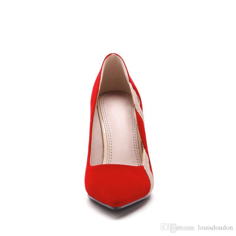 2018 recién llegado rojo y negro recorte de gamuza súper tacón alto zapatos de vestido de noche formales para las mujeres señoras bombas de estilete