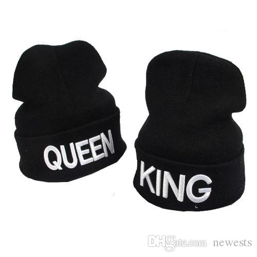 96de6c783848af 2019 KING QUEEN Winter Warm Skullies Beanies Knit Hat Skullies Bonnet Hats  For Men Women Beanie Ski Sports Embroidery Cap From Newests, $7.54 |  DHgate.Com