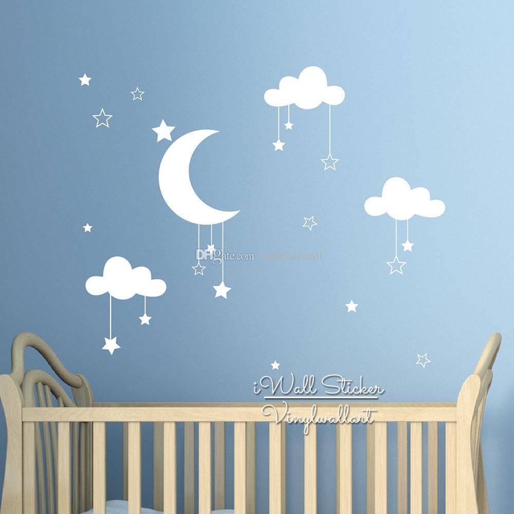 Großhandel Baby Kinderzimmer Wolken Sterne Wandaufkleber Mond Wolken  Wandtattoo Kinderzimmer Dekor Einfache Wandkunst Kinderzimmer Hohe Qualität  Cut ...