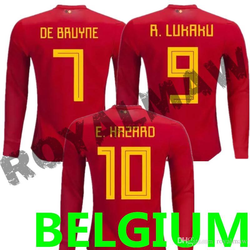 39e14eb2468 2019 Belgium Long Sleeve Jersey 2018 World Cup Belgique Maillot De Foot Home  Red Belgien Full Sleeved Football Shirt België Soccer T Shirt Cheap From ...