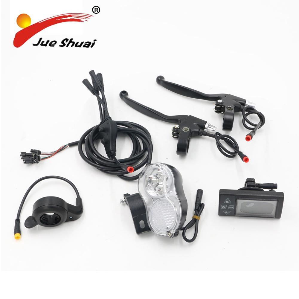 2018 Diy 5 Parts Electric Bike Conversion Kit With Design Led Hall Sensor Wiring Display Waterproof Wire Brake Lever Front Light Throttle From Haoxinout