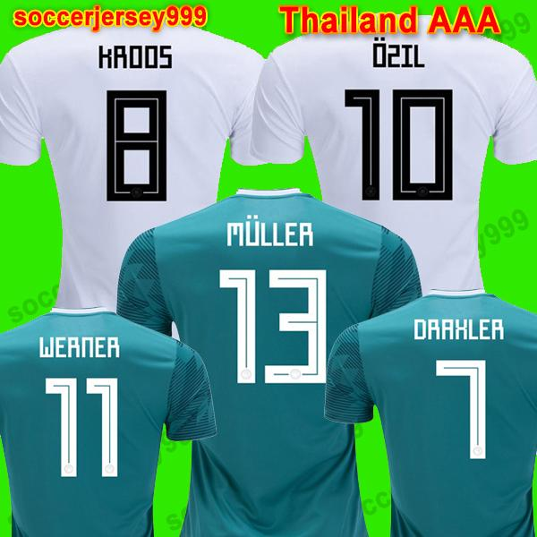 48bb7063b98 2019 Thailand MULLER OZIL Soccer Jersey DRAXLER 2018 WORLD CUP KROOS  HUMMELS WERNER SANE Football Shirt Camiseta Alemania Allemagne GeRMany From  ...