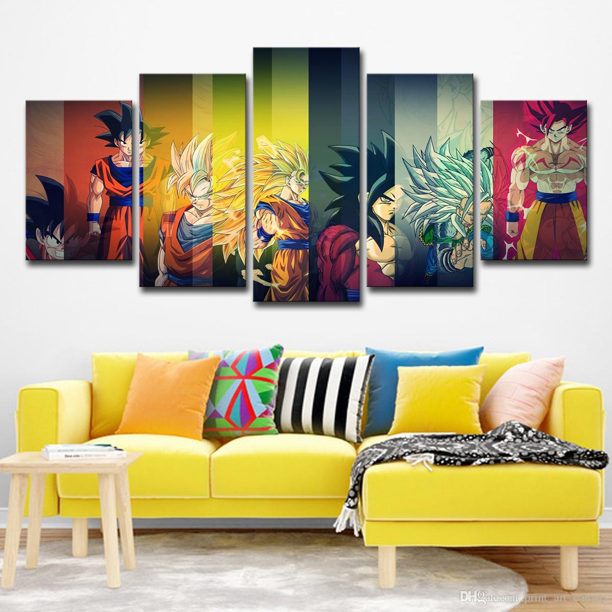 Canvas prints pictures 5 pieces color dragon ball z painting home decor anime super saiyan poster living room wall art