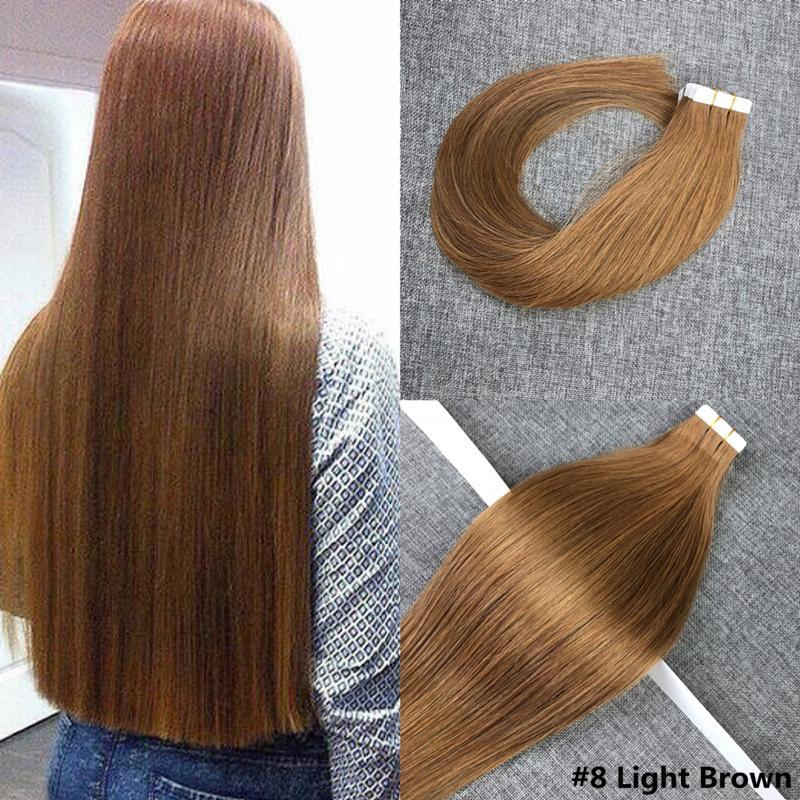2 Darkest Brown Tape In Human Hair Extensions 40g Brazilian Virgin