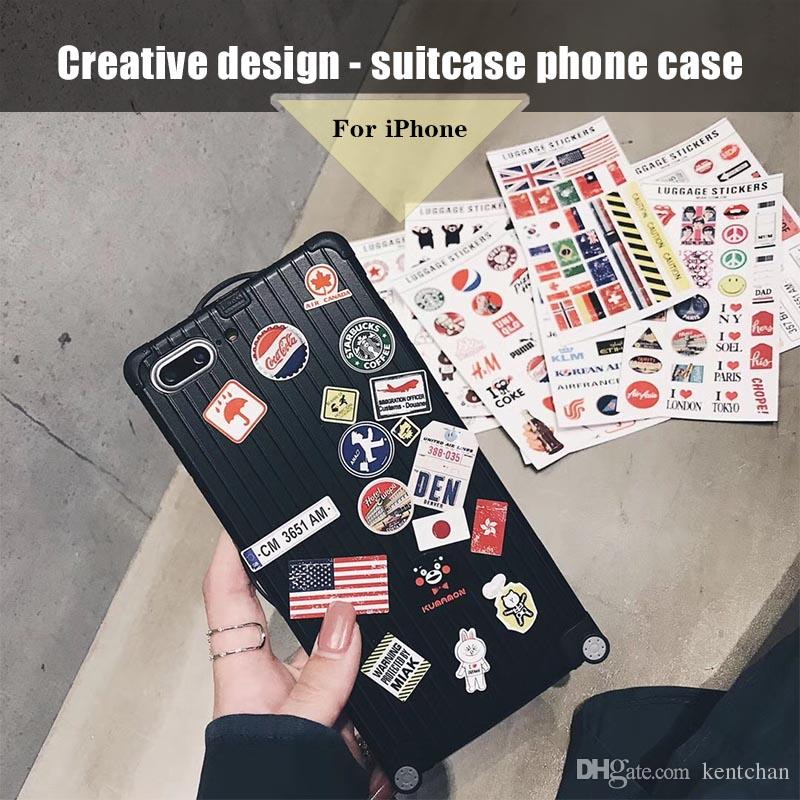af53d646b9 Creative Sticker Suitcase Luggage Mobile Phone Case For IPhone X 6/6s 7/8  Plus Case Cell Phone Covers Phone Cover From Kentchan, $4.01| DHgate.Com