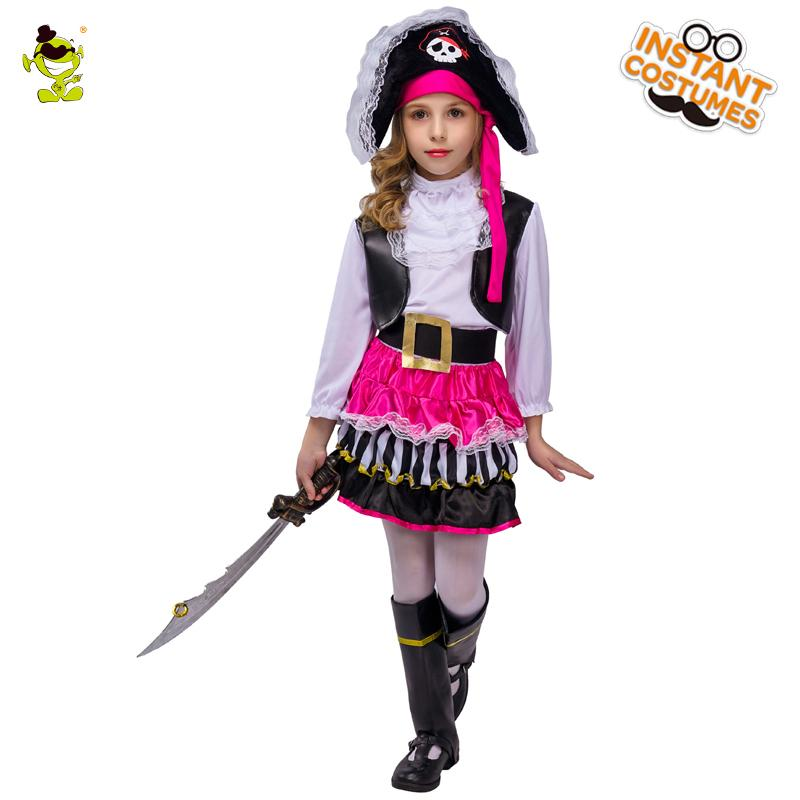 Halloween Costumes For Girls.2018 Kids Pink Pirate Halloween Costumes Girls Party Cosplay Costume For Children Carnival Christmas Captain Costume