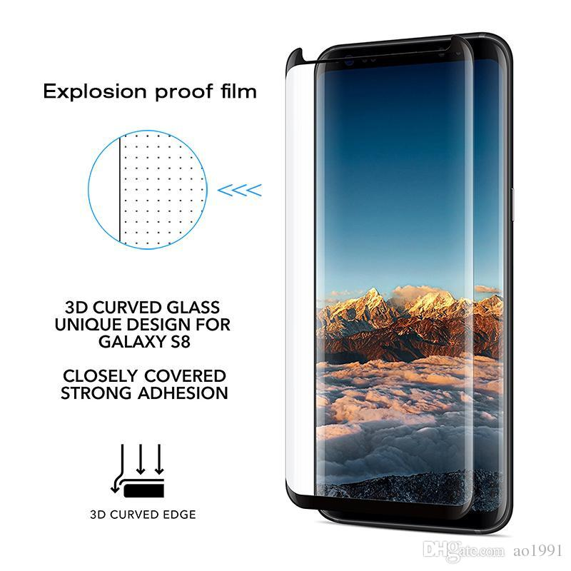 Premium 3D Curved Full Cover Tempered Glass phone Screen Protector For samsung Galaxy S9 S8 plus Note 8 S7 Edge S6 edge Plus