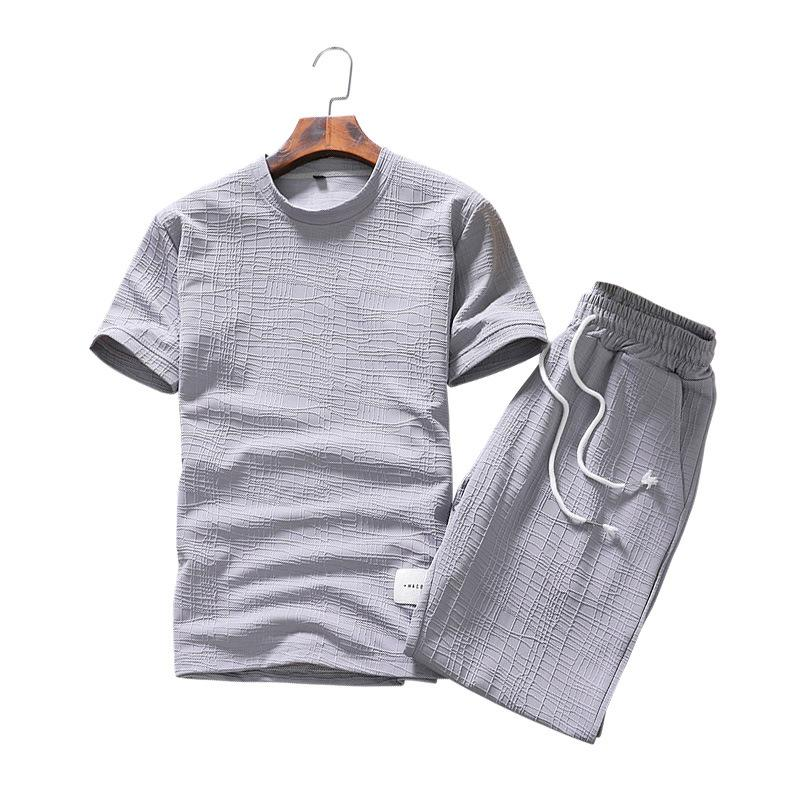 32946ec2ef08 Summer Men s Round Collar Solid Color Linen Short Sleeve T - Shirt ...