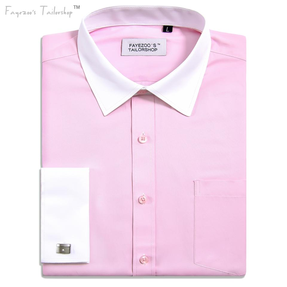 Mens Non Iron French Cuff Contrast Spread Collar Pink Formal