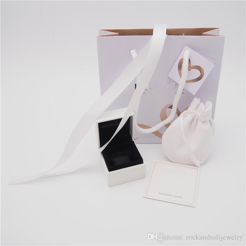 L'insieme dei monili di alta qualità Pacchetto scatola di carta cartone Bag Panno sacchetto Pandora Orecchini Anello branello di fascino ciondola Moda