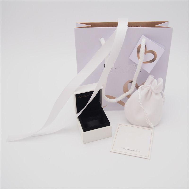 Pacote de alta qualidade Set caixa de papel cartão saco pano de polimento Bolsa Para Pandora Anel Brincos encanto Bead Dangle Jóias