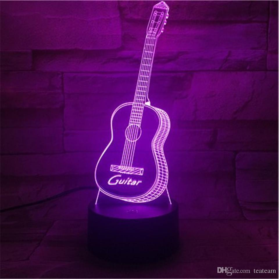 2018 Novel Desk Lamp Guitar 3d Night Led Lights With Acrylic Lighting Board Kids Room Dc5v Usb From Teateam 16 39 Dhgate Com