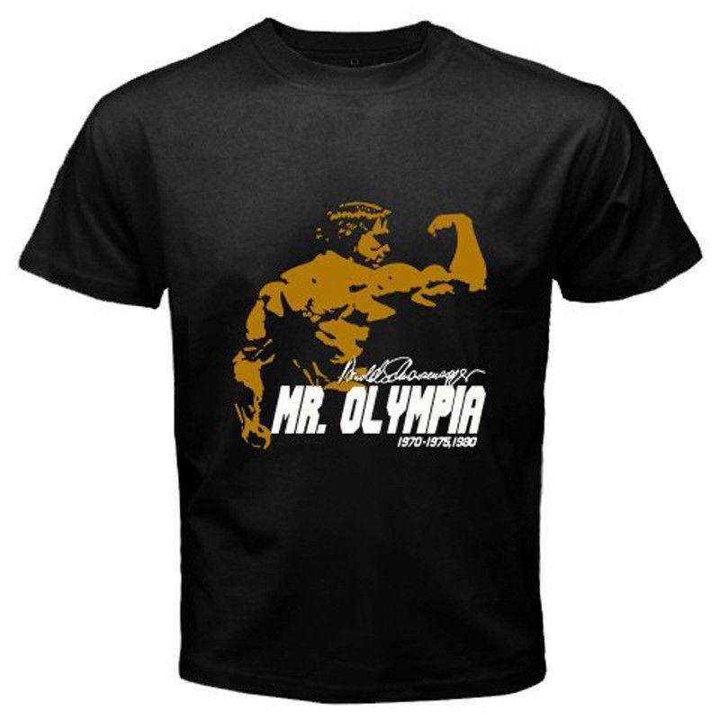 Arnold Schwarzenegger Mr Olympia Tee Camiseta de Algodão Preto Dos Homens  Novos T-shirt de Manga Curta O-pescoço camiseta de Algodão