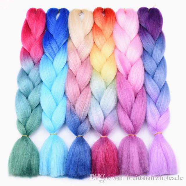 Three Tone Colored Crochet Hair Extensions Kanekalon Hair Synthetic Crochet Braids Ombre Jumbo Braiding Hair Extensions