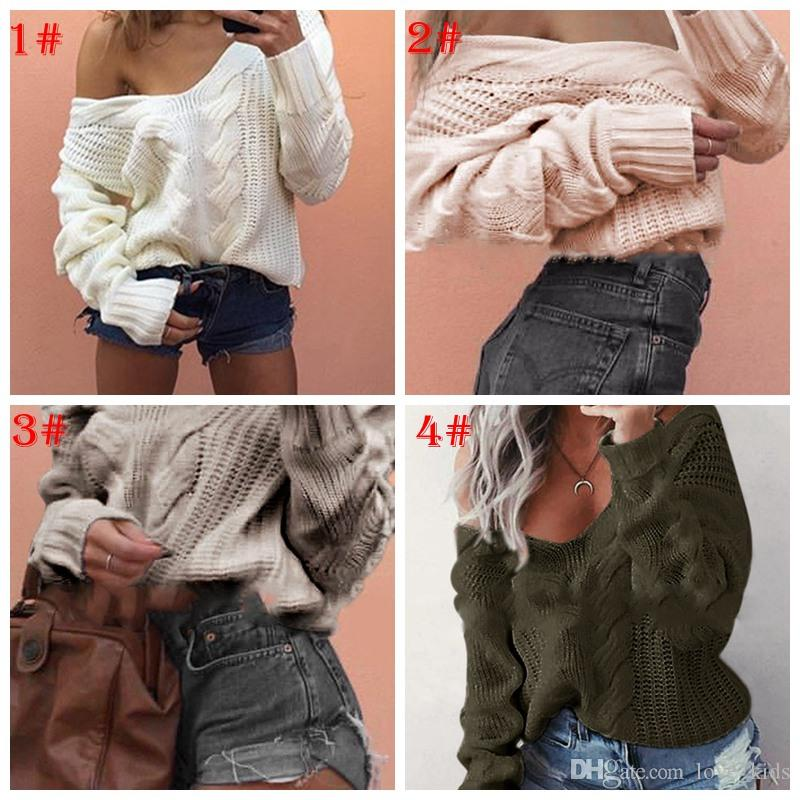 79596354ca9e Women Fashion Sexy Shoulder Knitted Pullovers Casual Top Loose ...