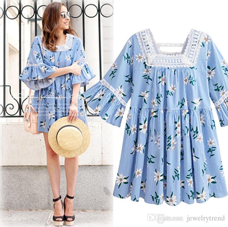 2018 Summer Women's Stripe Florals Blusa Vestido Flare Sleeve Plus Size Dress Vestido de flores de encaje de la señora C3313