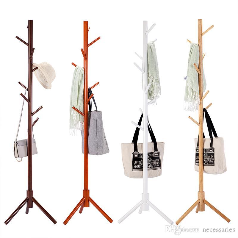 4f461591976 2019 Solid Wood Coat Rack Tripod Stand Rack Tree Living Room Coat Hanger  Bedroom Floor Hangers Clothes Rack Indoor Hanger From Necessaries