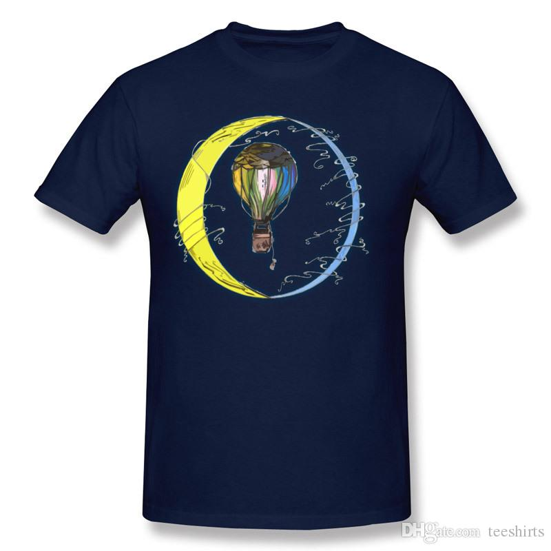 Luxury Men's 100% Cotton Fabric Moon and Balloon T-Shirts Men's Round Collar Navy Blue Short Sleeve T Shirt Plus Size Family T-Shirts