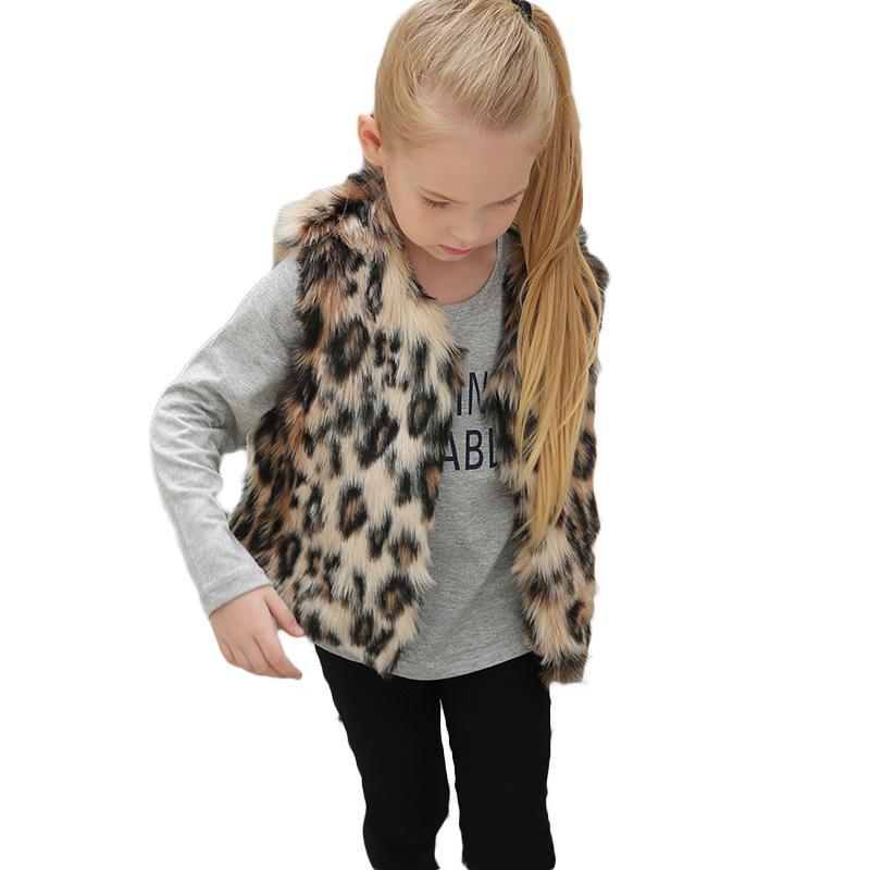 9b4427b53 Kids Girls Vests Baby Girl Autumn Winter Faux Fur Waistcoat Fashion ...