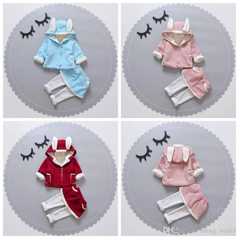 a68bcb981 2019 Baby Girls Clothing Sets Girl Zipper Hoodies Suits Children ...