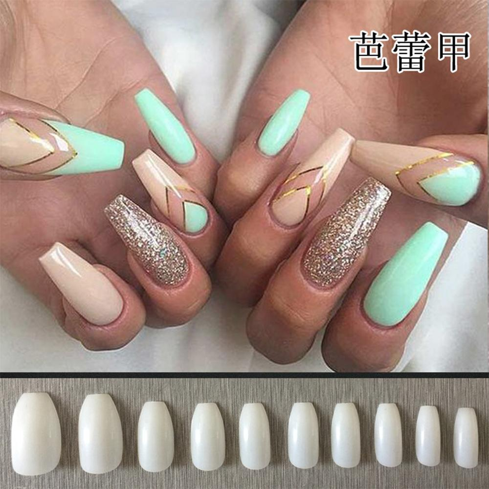 Long Nature Coffin Shaped False Nails Ballerina Half Nail Tips ...