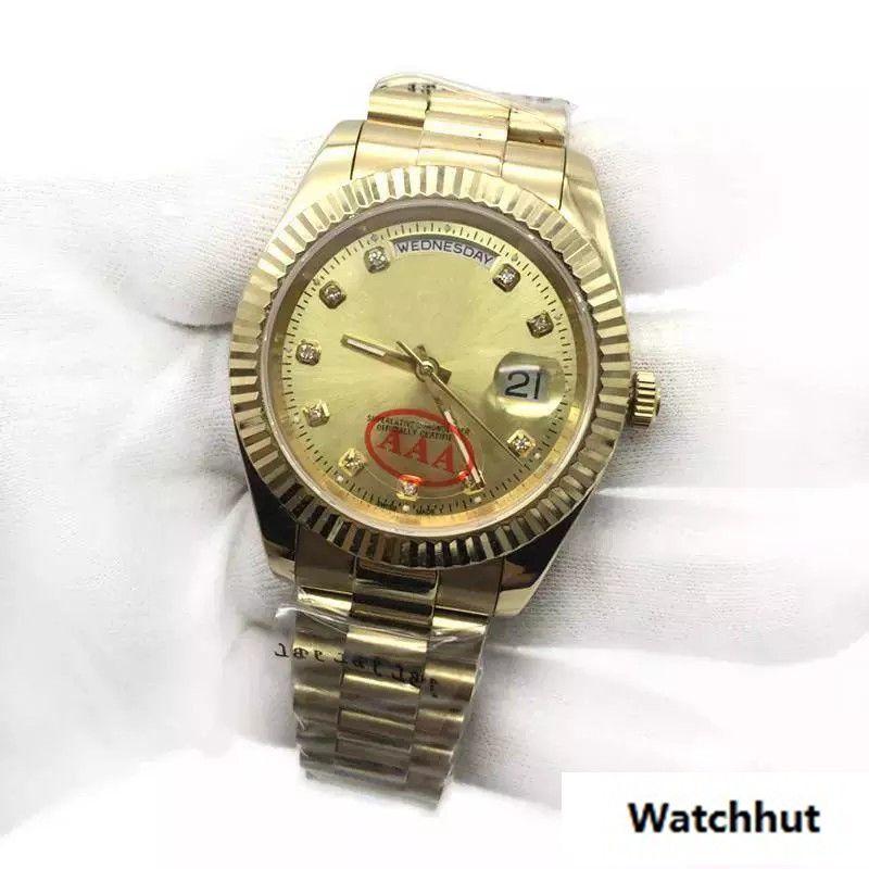 62be4e7ecf Compre Novo Luxo Mens Watch 18 K Ouro Presidente Sapphire Cystal Diamante  Número Homens Relógios Movimento Mecânico Automático Masculino Relógio De  Pulso De ...