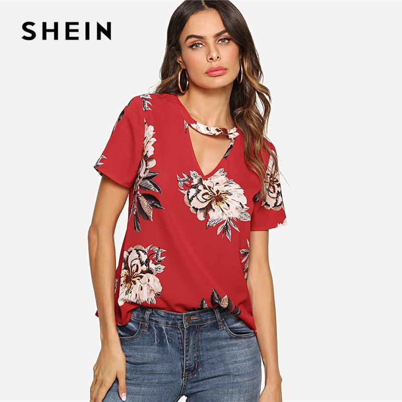 SHEIN Red Elegant V Cut Neck Keyhole Back Floral Print Short Sleeve Button  Blouse Summer Women Weekend Casual Shirt Top UK 2019 From Vanilla04 1fe111936