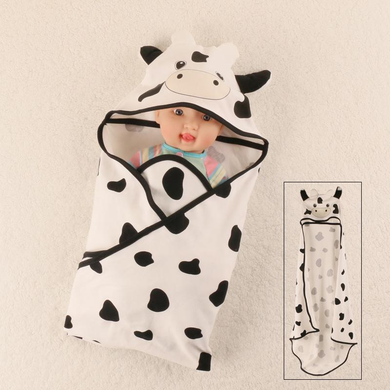 Summer Baby Blanket Infant Cotton Breathable Cartoon Cow Blankets For Newborn Baby Hooded Sleep Sack Girls Blankets