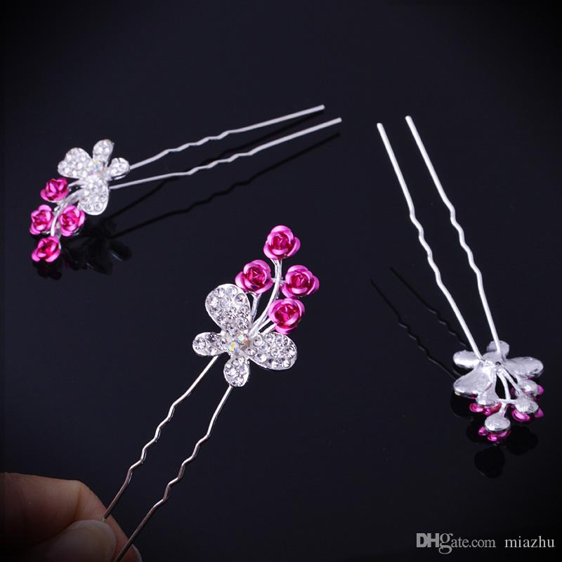 Mixed Colors Fashion Wedding Bridal Hair Jewelry Rose Butterfly Crystal Hair Pins Clips New