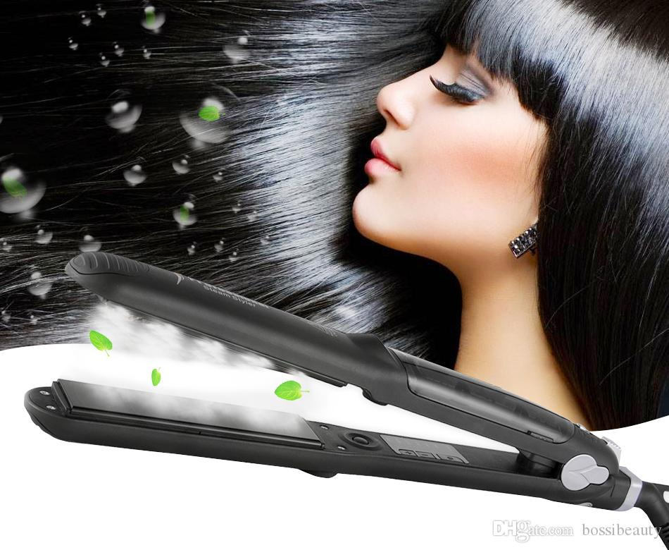 Steam Hair Straightener Flat Iron, Professional Salon Ceramic Tourmaline Flat Iron with Vapor Heat up Fast, 360°Swivel Cord, 5 Modes For Dry