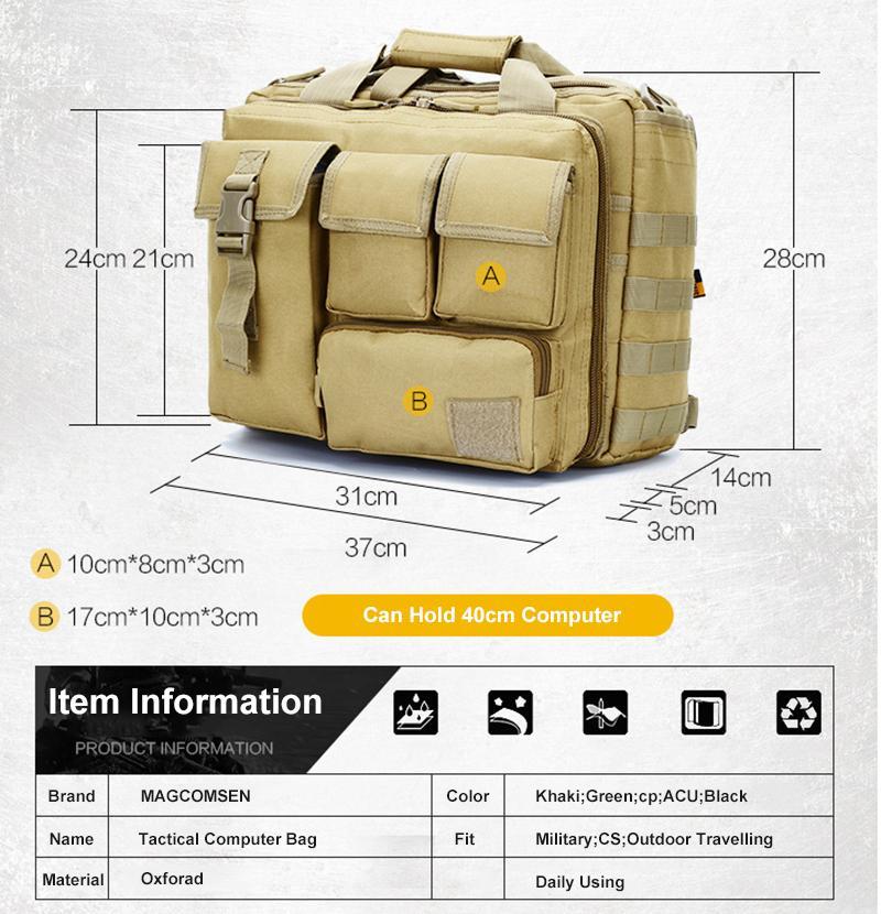 Magcomsen 36x25x29 سنتيمتر الكلاسيكية الرجال حقيبة نايلون دائم حقائب الكمبيوتر المحمول رجل التمويه العسكرية الجيش حقائب العمل AG-LM-01
