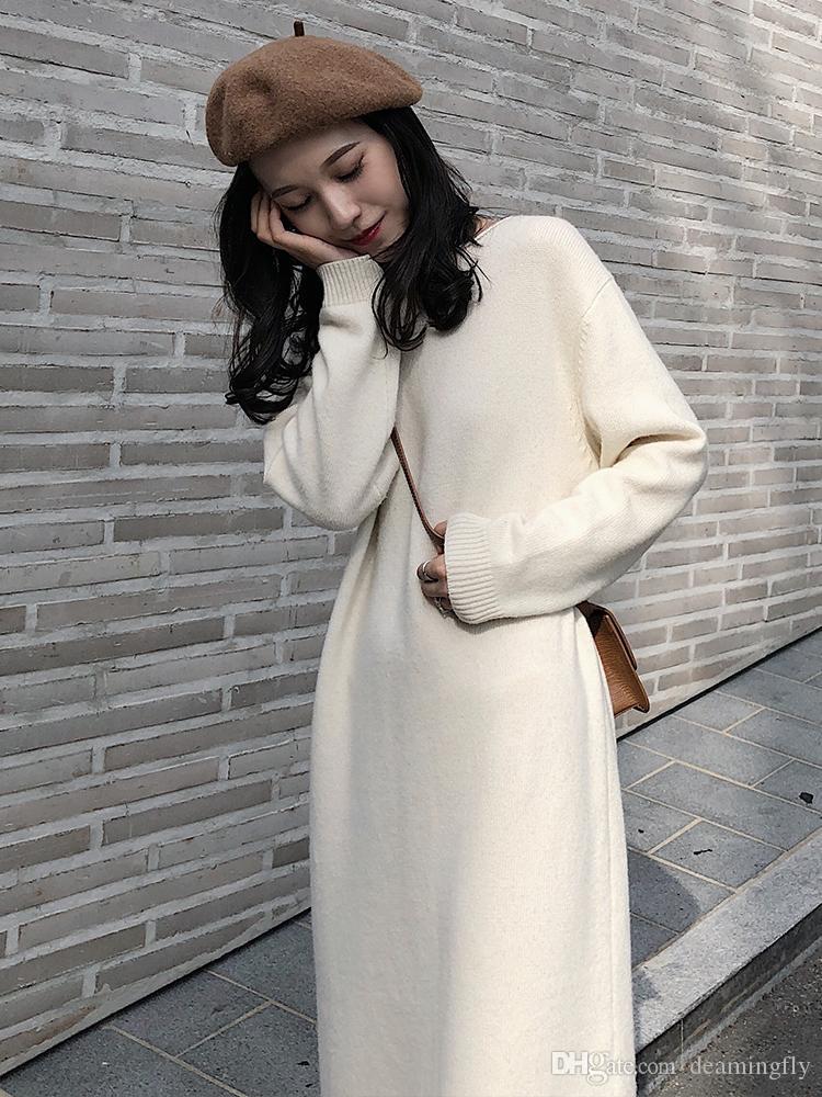 b09706755687ec5 Зимний тренд белый шерстяное платье женщины 2018 осень и зима новые до  колен вязать платья