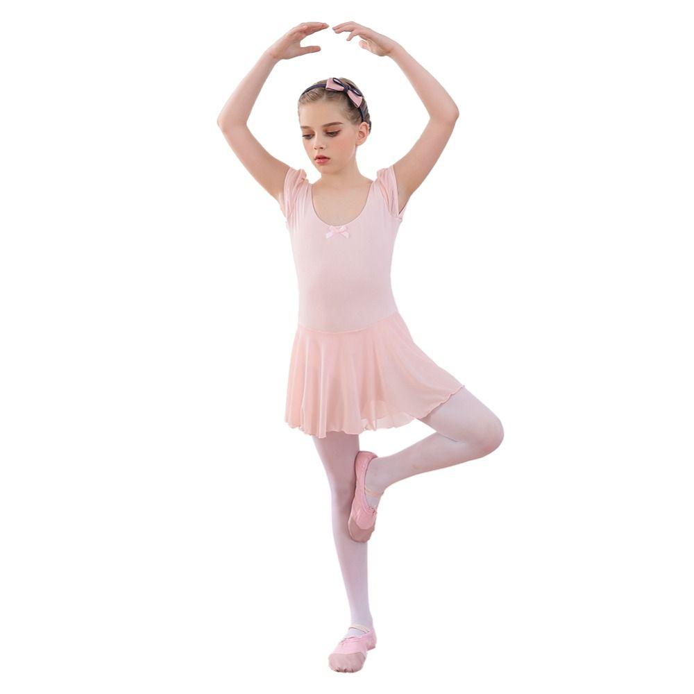 c65074d76d Compre Meninas Ballet Vestido De Ginástica Leotard Manga Curta Pétala  Skirted Ballet Roupas Collant Tutu Vestido De Dança Desgaste De Bairi