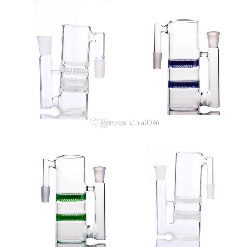 90 grader askfångare Dubbelkaka Perc Ashcatcher Olika färger för glas Bong kan göra mer Clearn