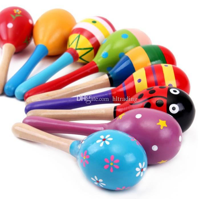 New infant baby Wooden toys hammer baby sand hammer Educational Toys Handbells Orff musical instruments C1692
