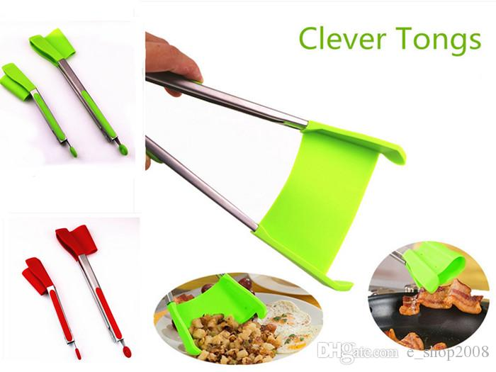 2018 Clever Spatula Tong 2 In 1 Kitchen Spatula Tongs Non Stick Heat ...