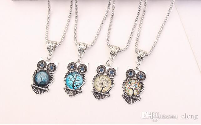 Printing resin Royal blue eye owl necklace Hand catenary Stud earrings Necklace three-piece women Jewelry + 154